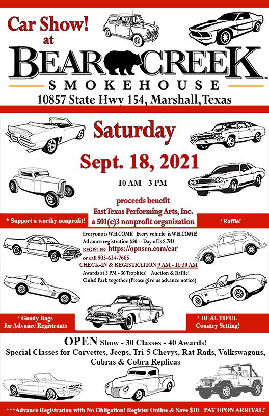 car show, September 18, 2021, at Bear Creek Smokehouse in Marshall, Texas
